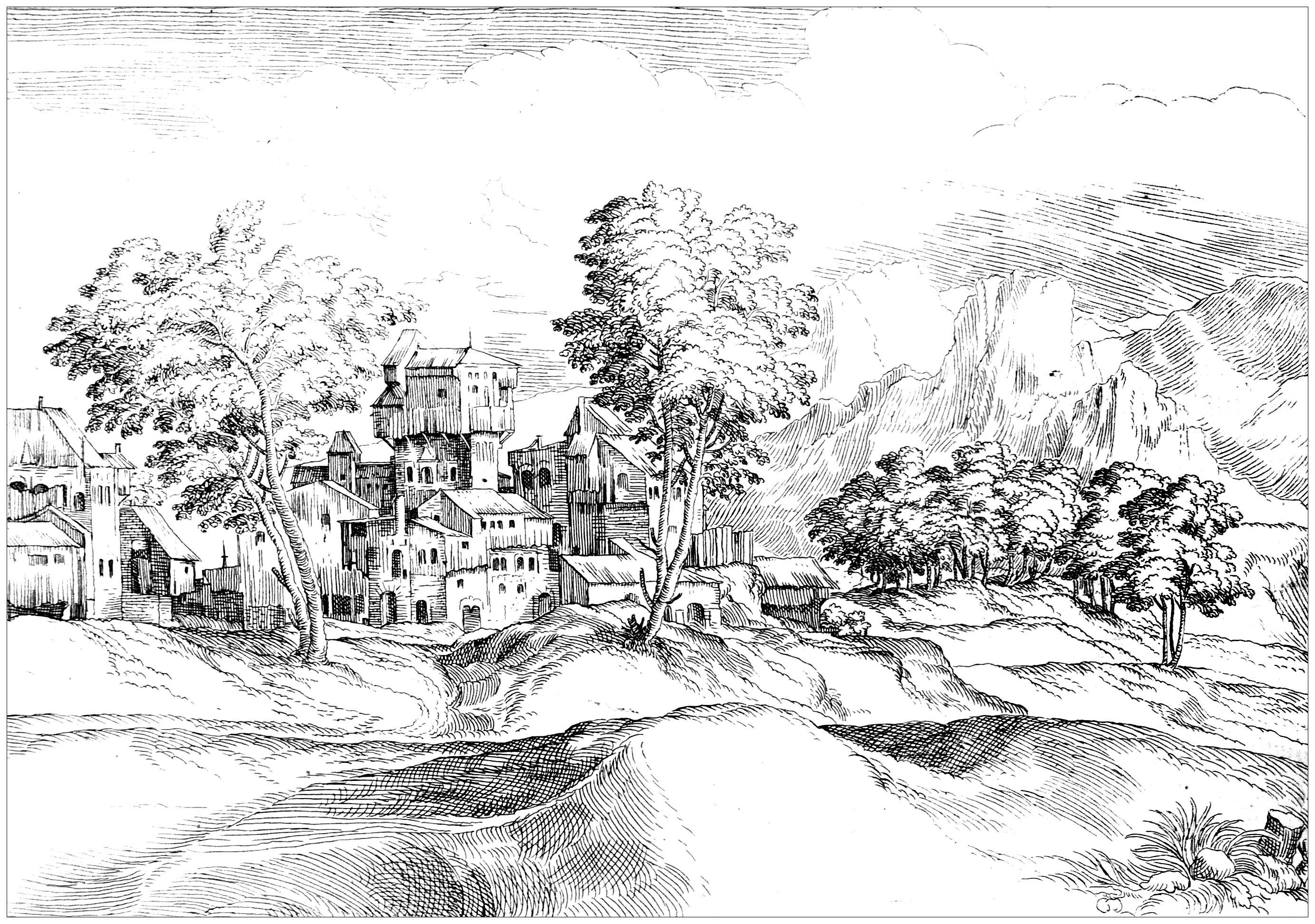 Coloring Adult Landscape 17th Century Drawing