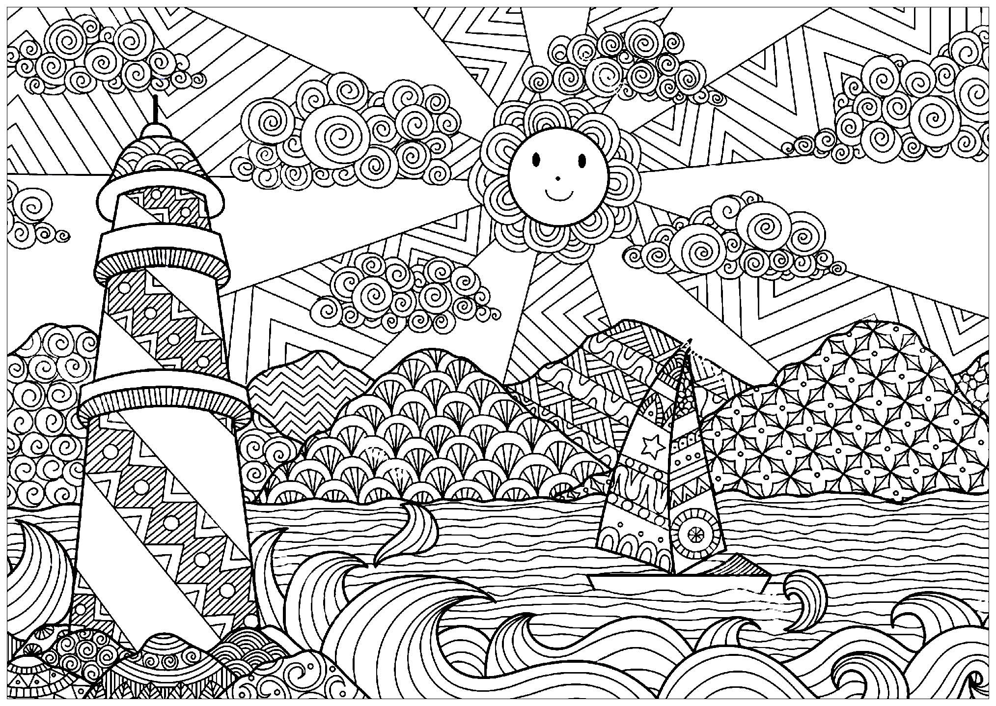 Landscapes - Coloring pages for adults | JustColor