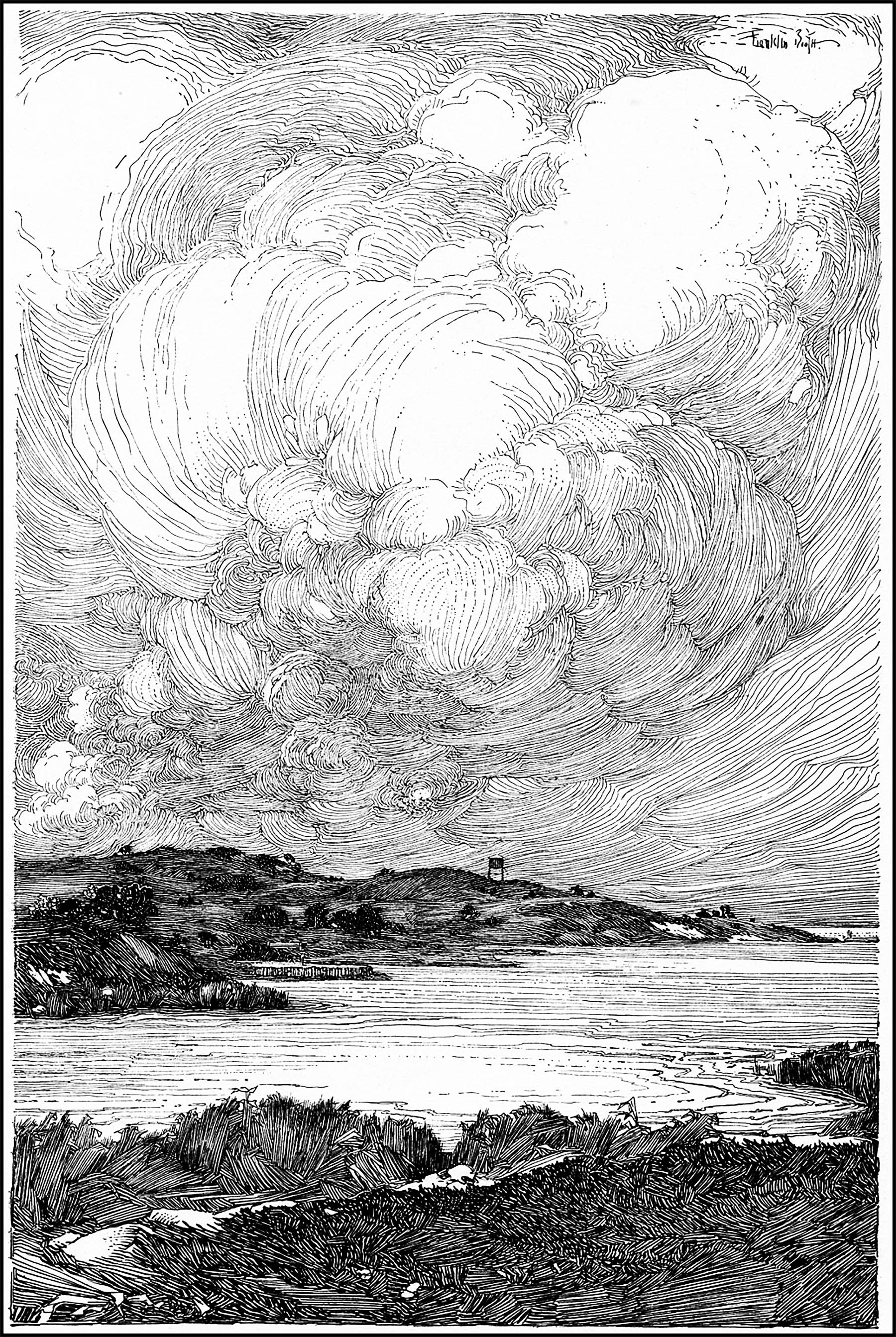 Detailed pen-and-ink illustration of an incredible seascape, by Franklin Booth, (1874 - 1948)