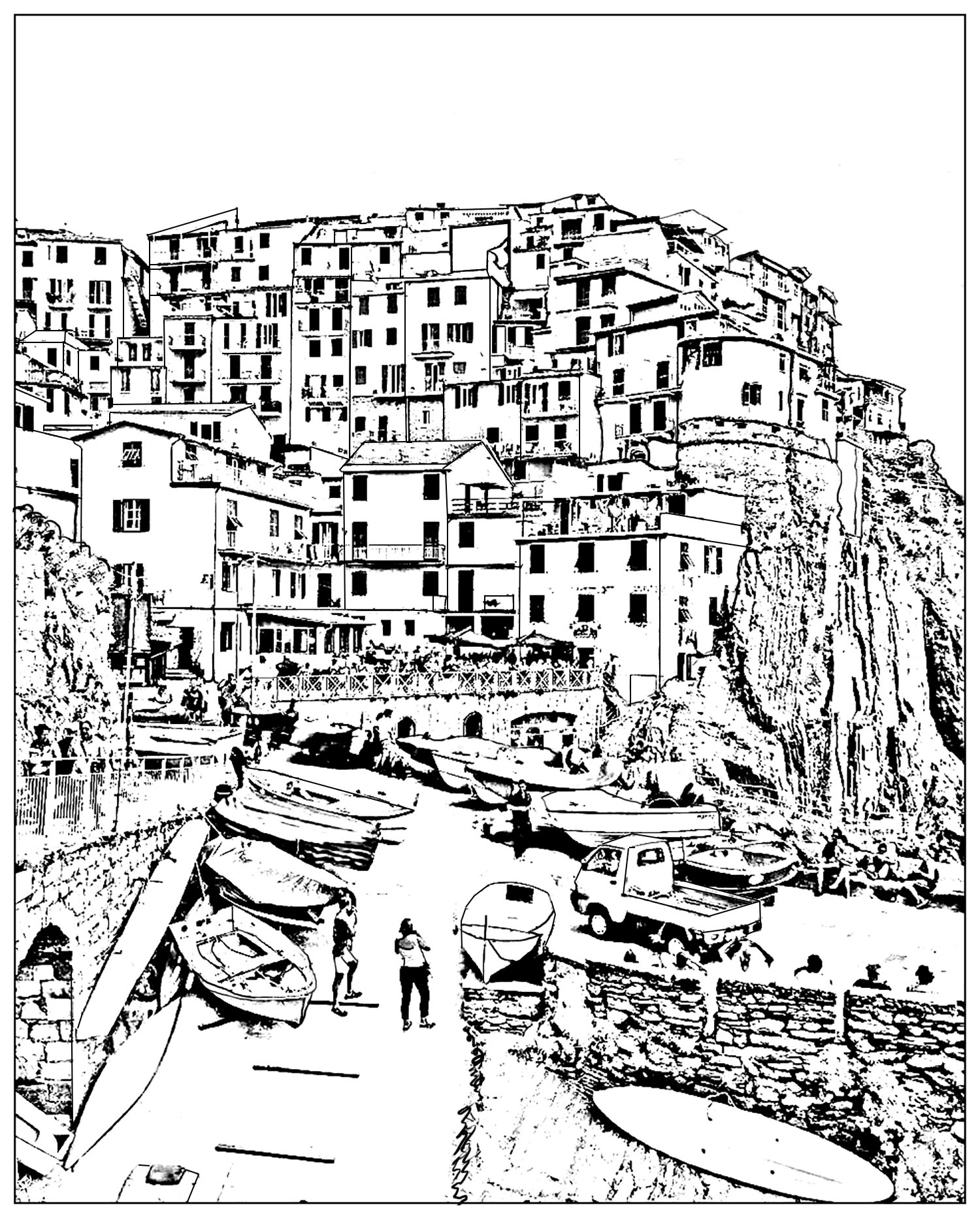 Italy Cinque Terre L Scapes Adult Coloring Pages