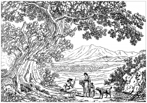 Coloring Adult Italy Landscape Philippe Hackert Drawing By 1737 1807