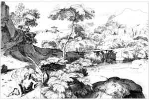 Coloring adult landscape 17th century jacques rousseau