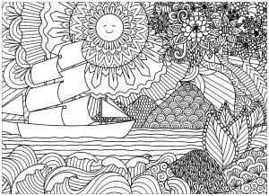 coloring adult seascape with sun and boat
