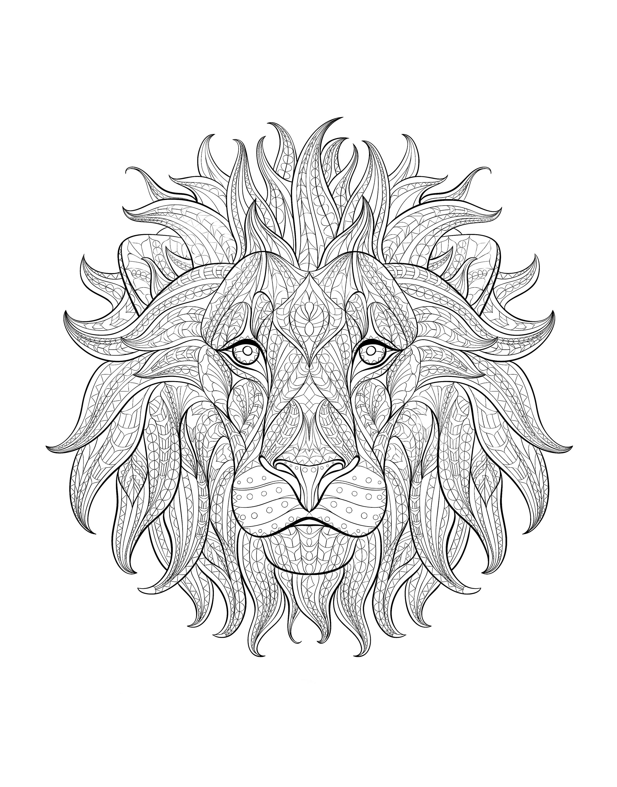 coloring adult lion head 3 - Lion Coloring Pages