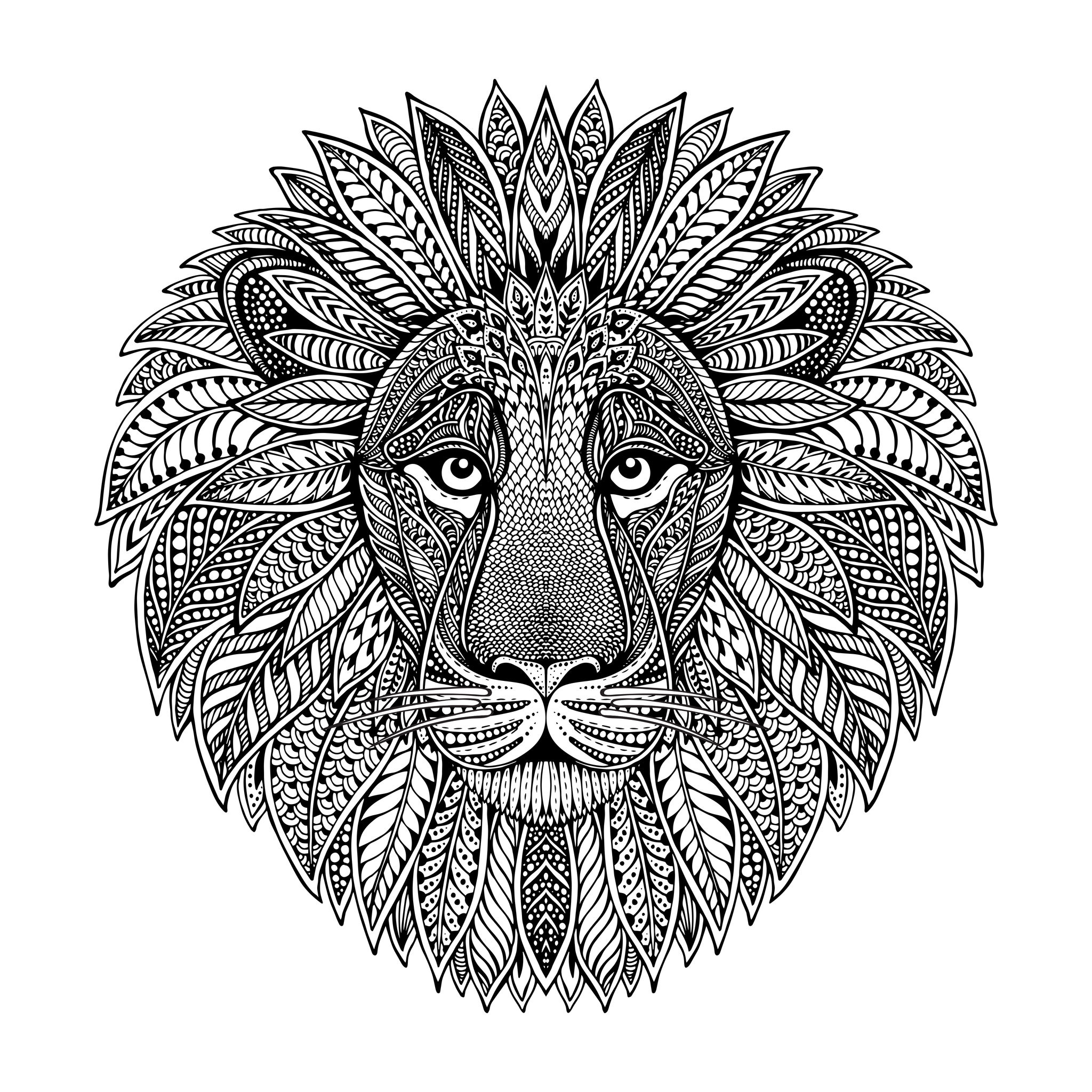 Lion head mandala style lions adult coloring pages for Lion mandala coloring pages