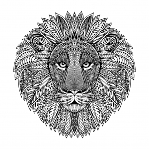 Coloring lion head mandala style