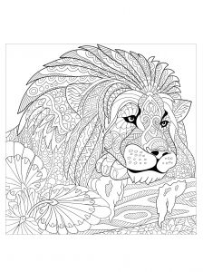 majestic lion hidden behind vegetation - Coloring The Pictures