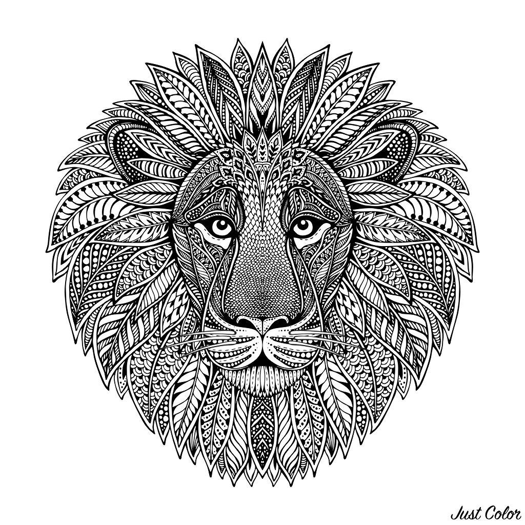 Lion head, mandala style