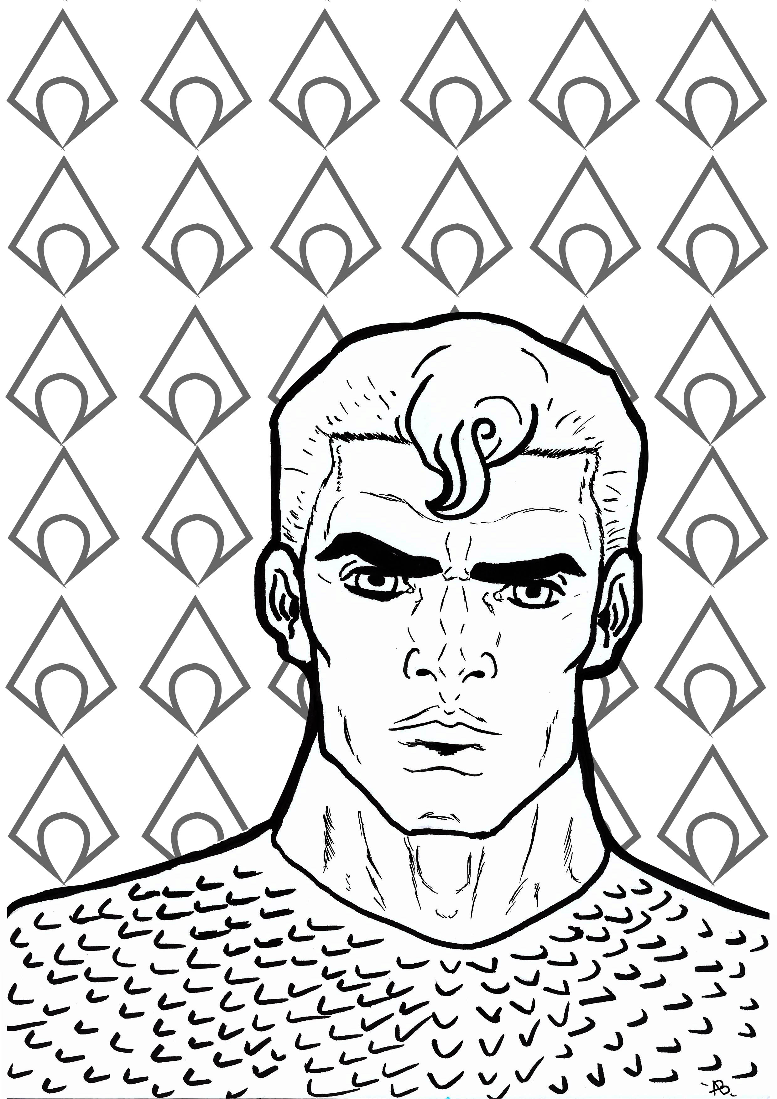 Coloring page inspired by Aquaman (DC Comics character)