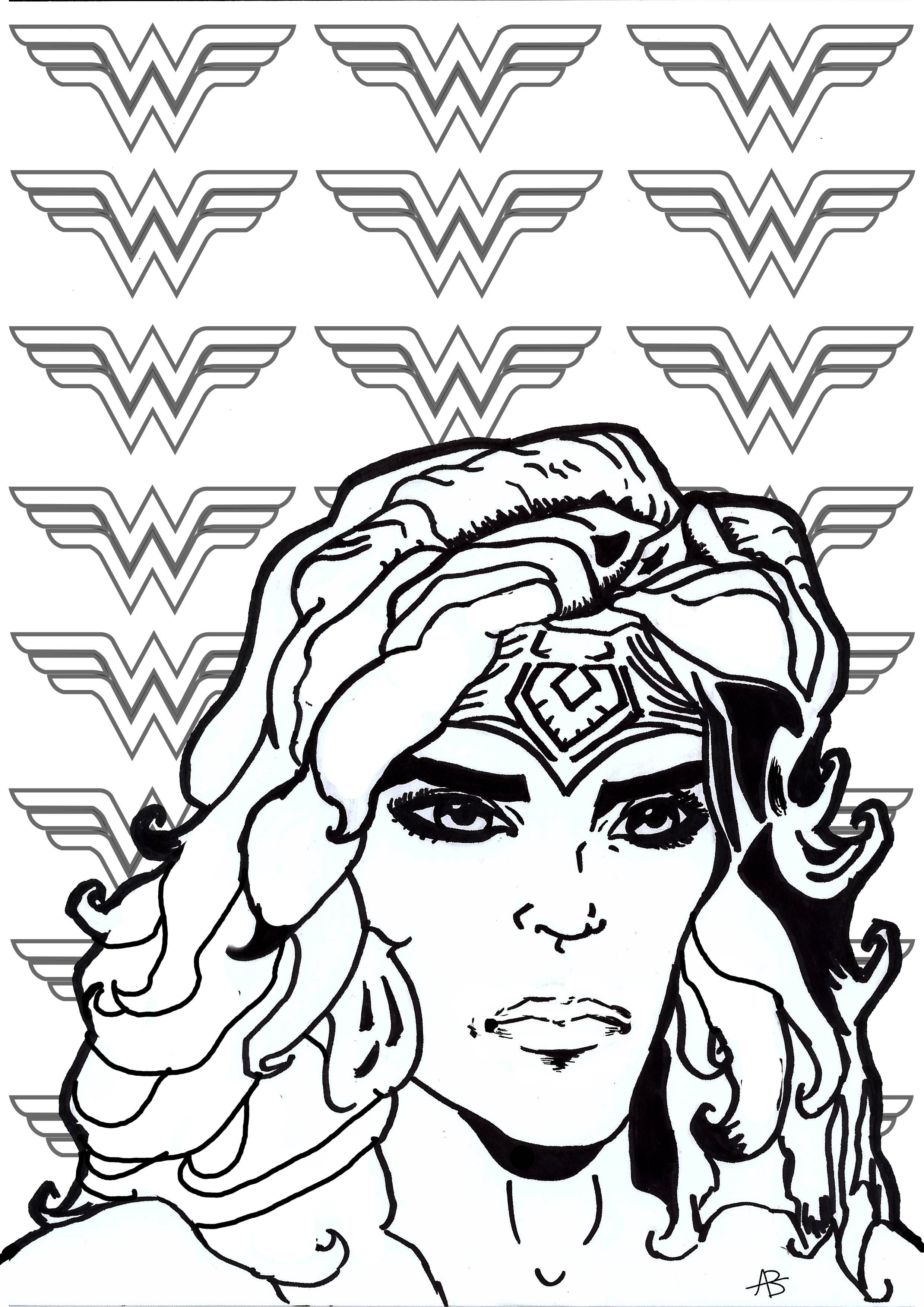 Coloring page inspired by Wonder Woman (DC Comics character)