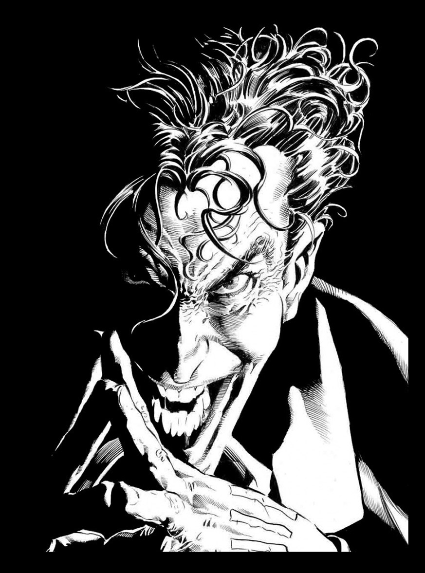 Drawing representing the enemy of Batman, the scoundrel, heartless Joker with his vicious look