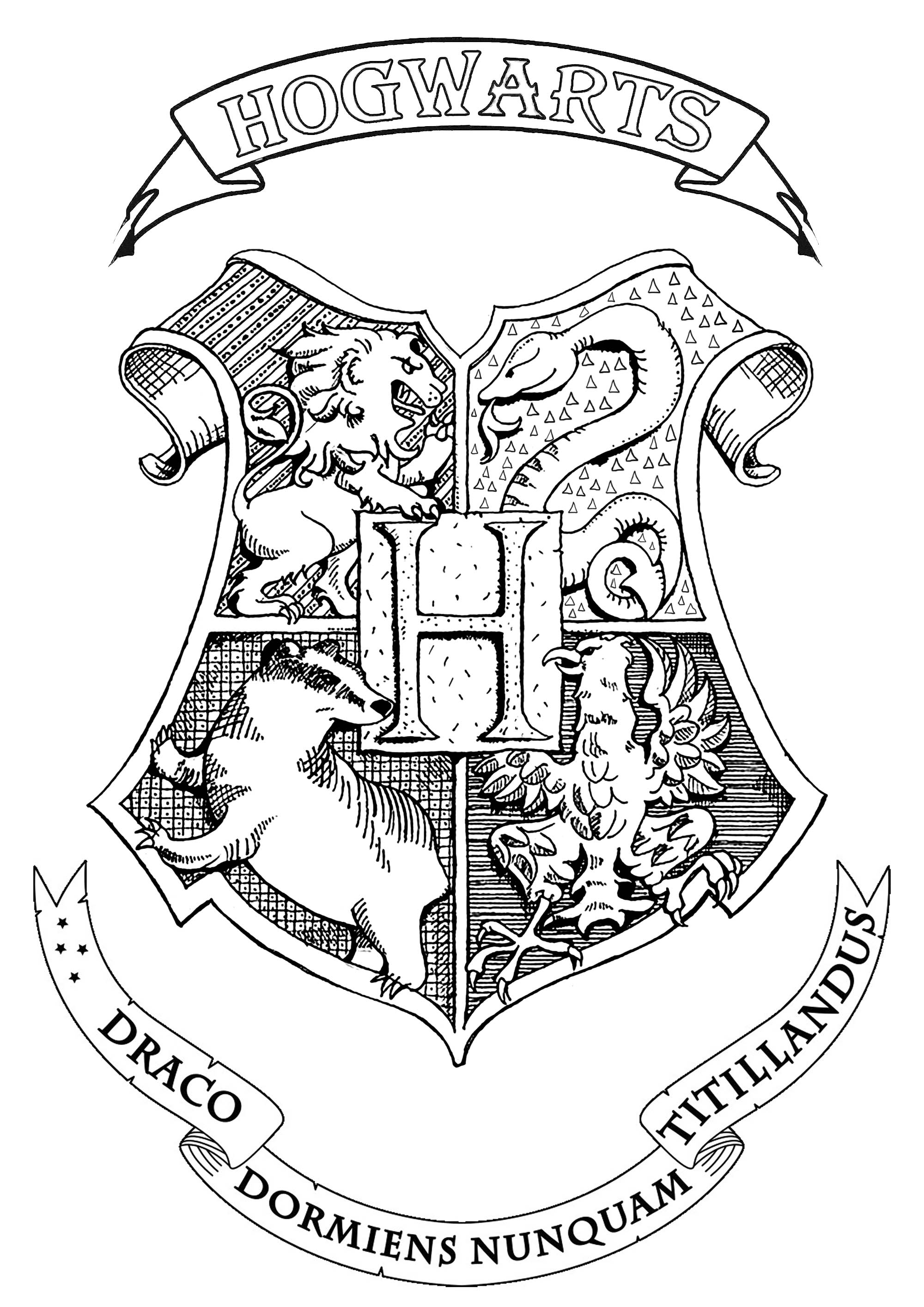 Symbol, emblem, seal, sign, logo or flag of Hogwarts : School of Witchcraft and Wizardry in Harry Potter books.