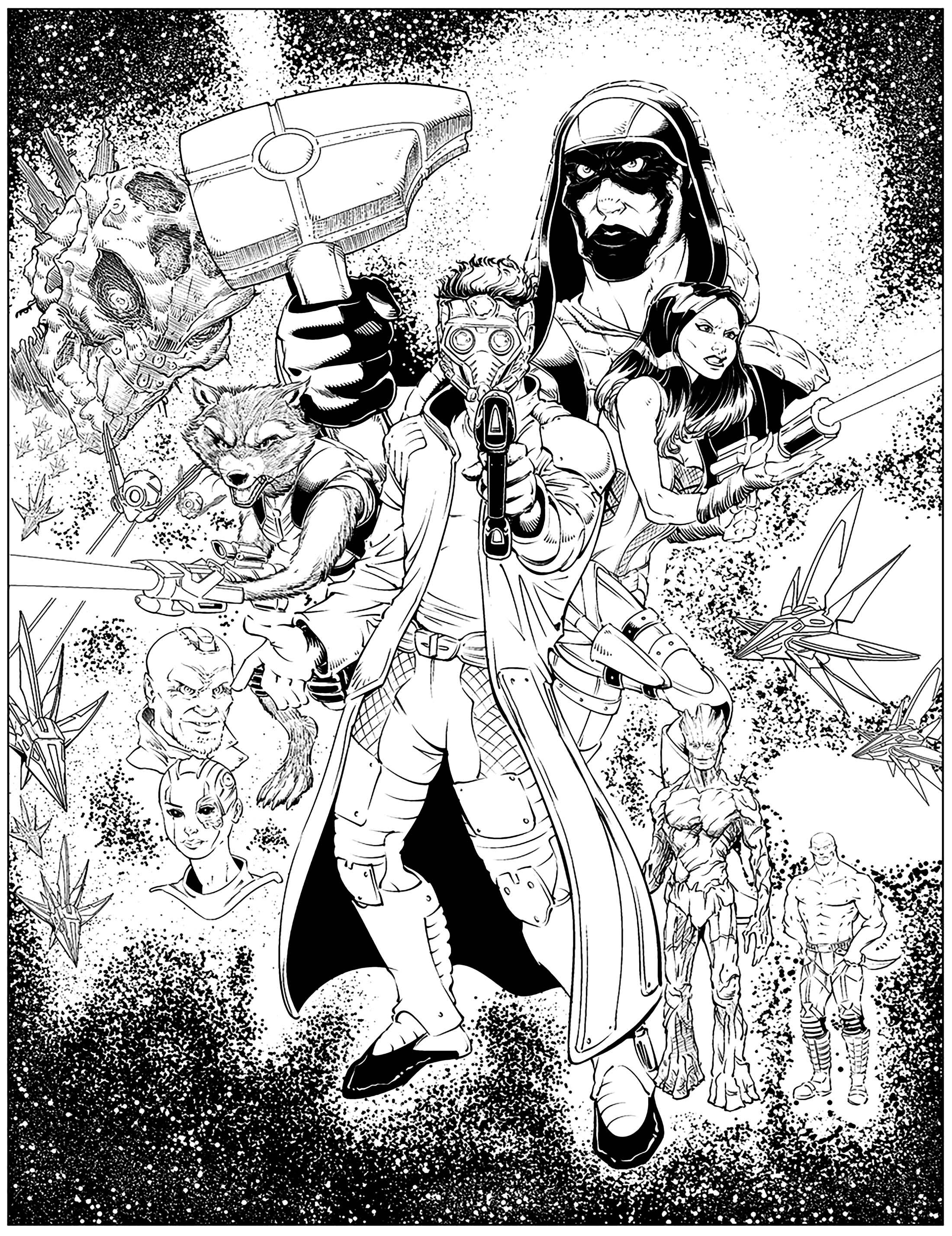 Fan art guardians of the galaxy will robson Books Adult Coloring Pages