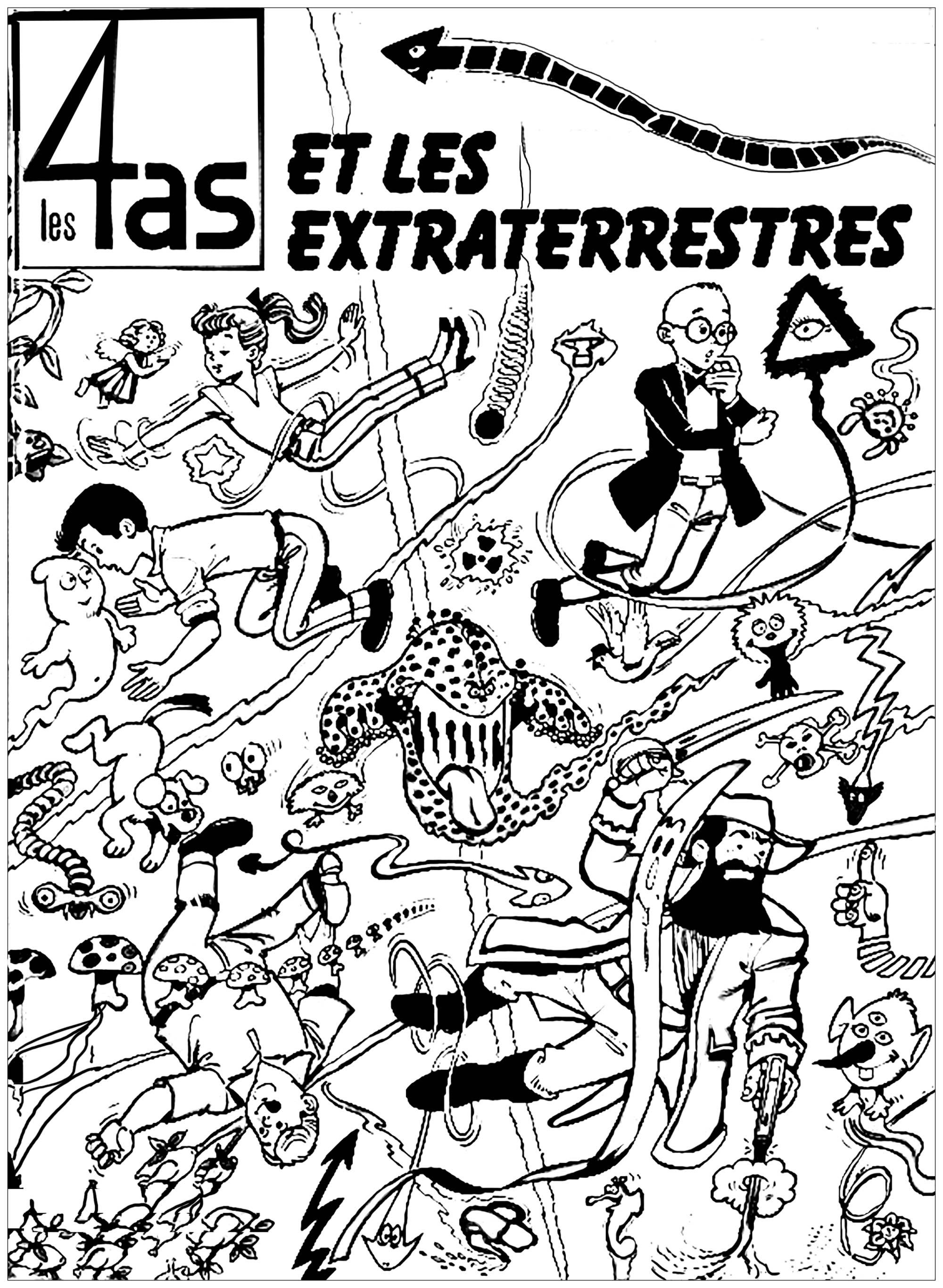 Coloring page created from the cover of a French strip cartoon : 'Les Quatre As'.