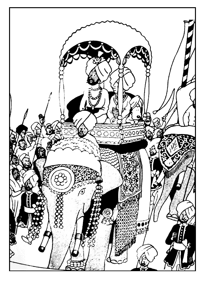 Tintin on a elephant