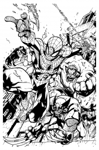 Coloring adult comics spiderman wolverine mattjamescomicarts