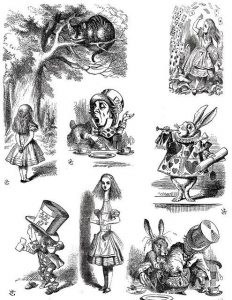 Coloring illustration alice in wonderland