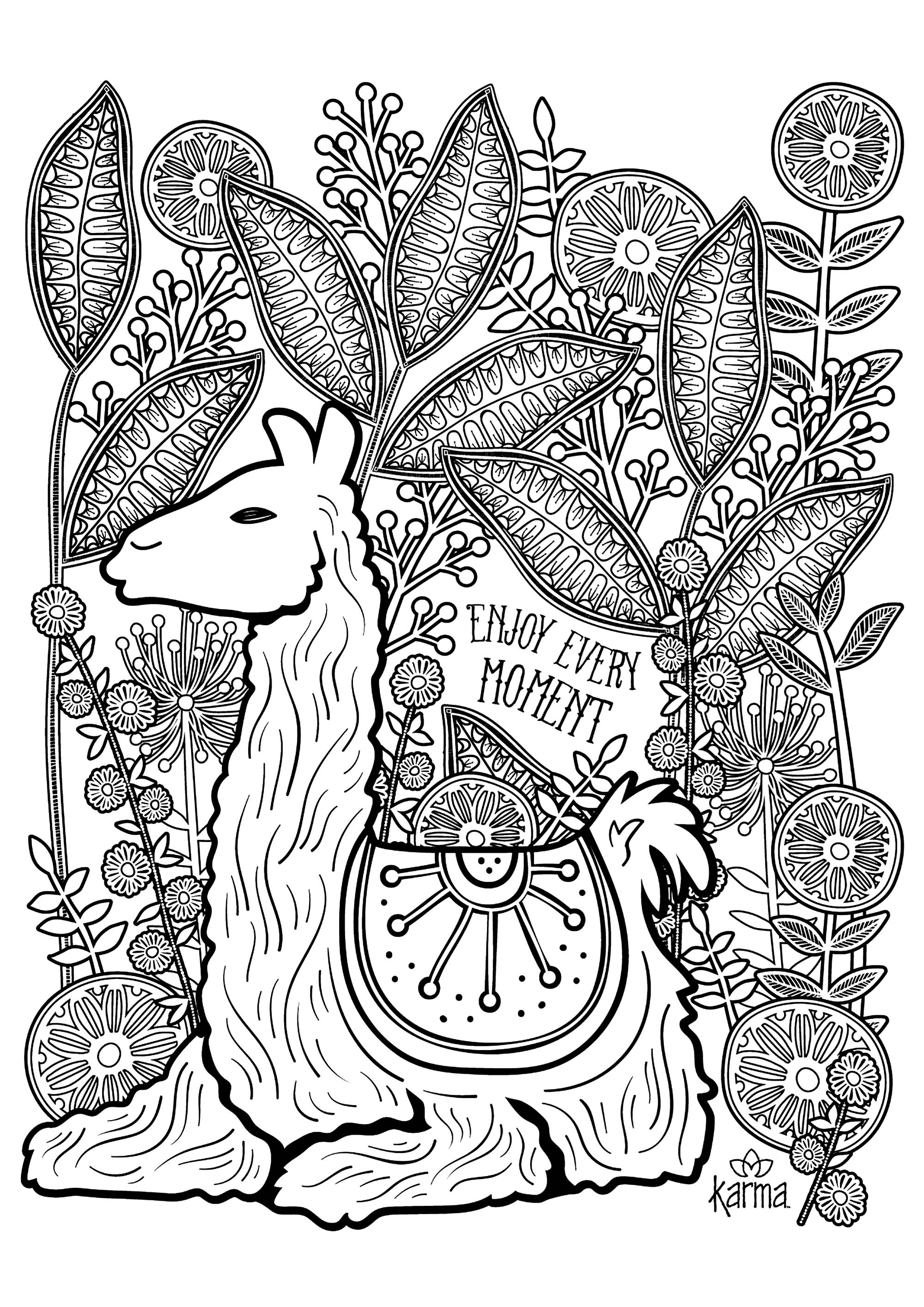 Llama to color with the text 'Enjoy every moment'