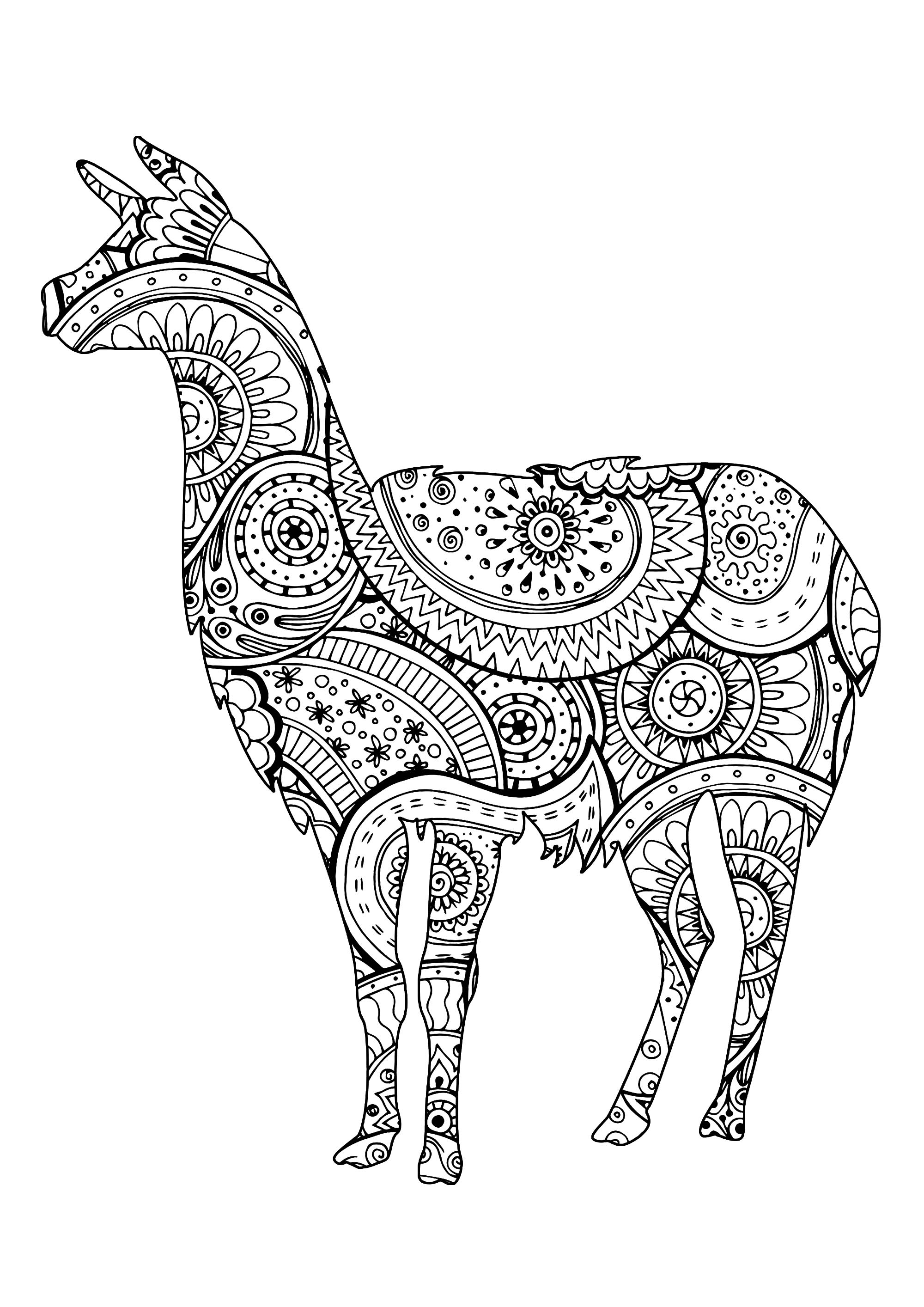Simple llama shape with Zentangle and paisley patterns