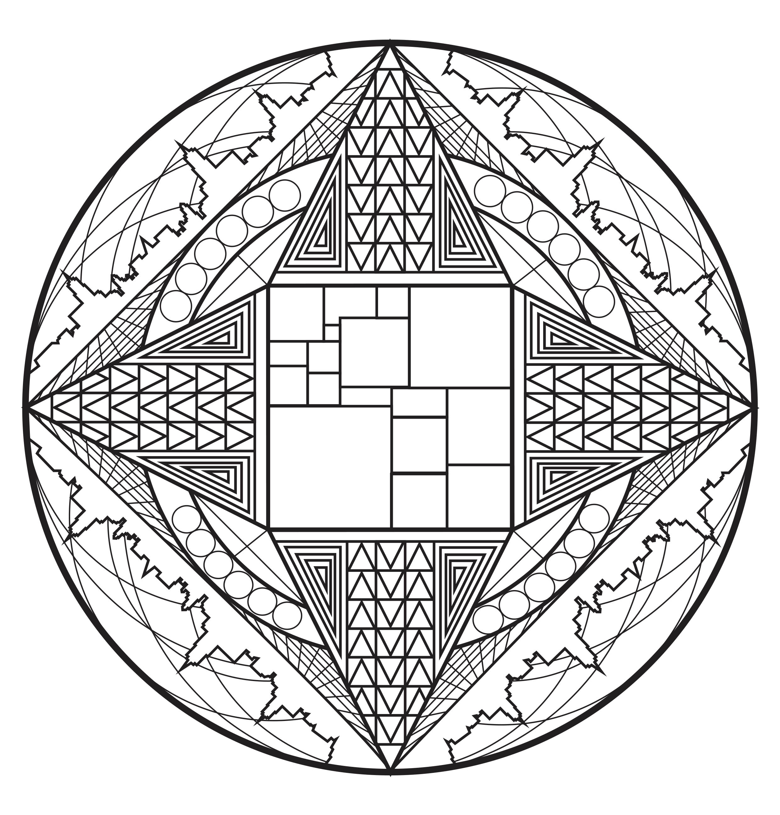 Color this mandala and its shapes reminiscent of the American skyscrapers