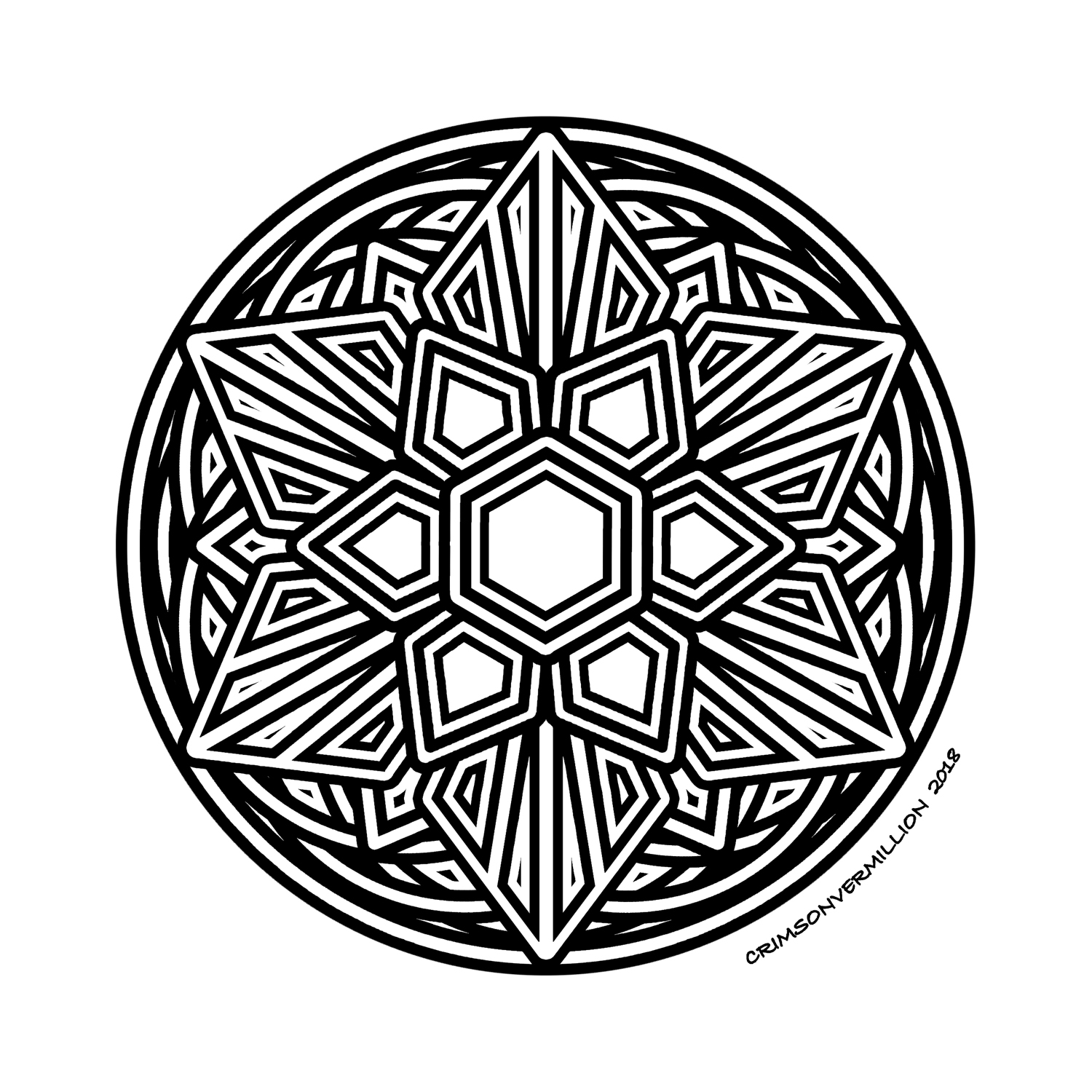 The alliance of rounded and spades gives a real strength to this mandala.