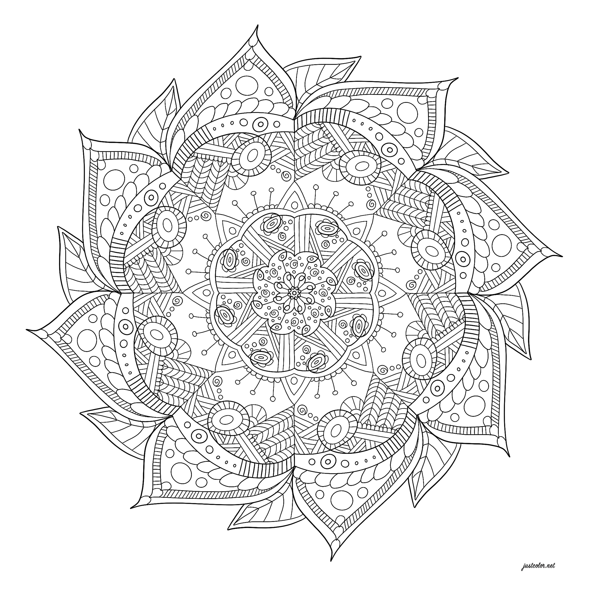 Relaxing mandala with abstract patterns