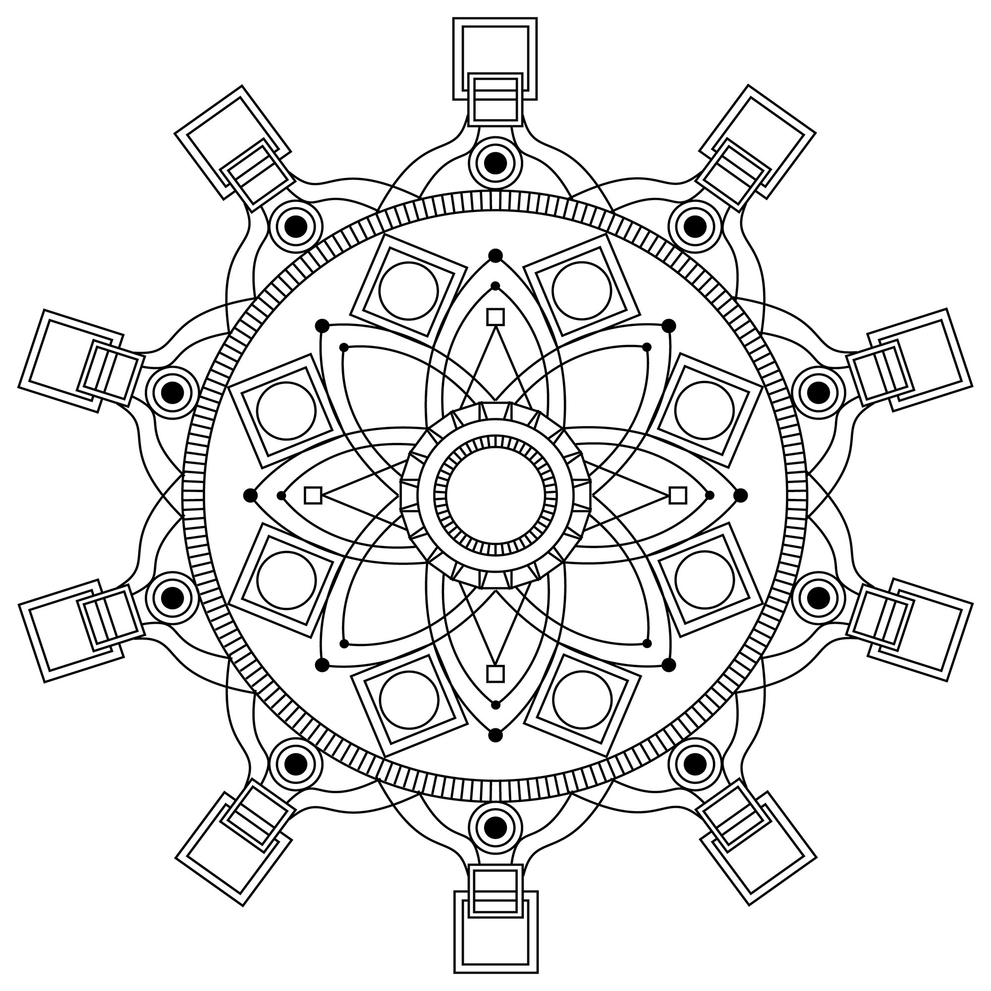 Mandala with squares at its extremities