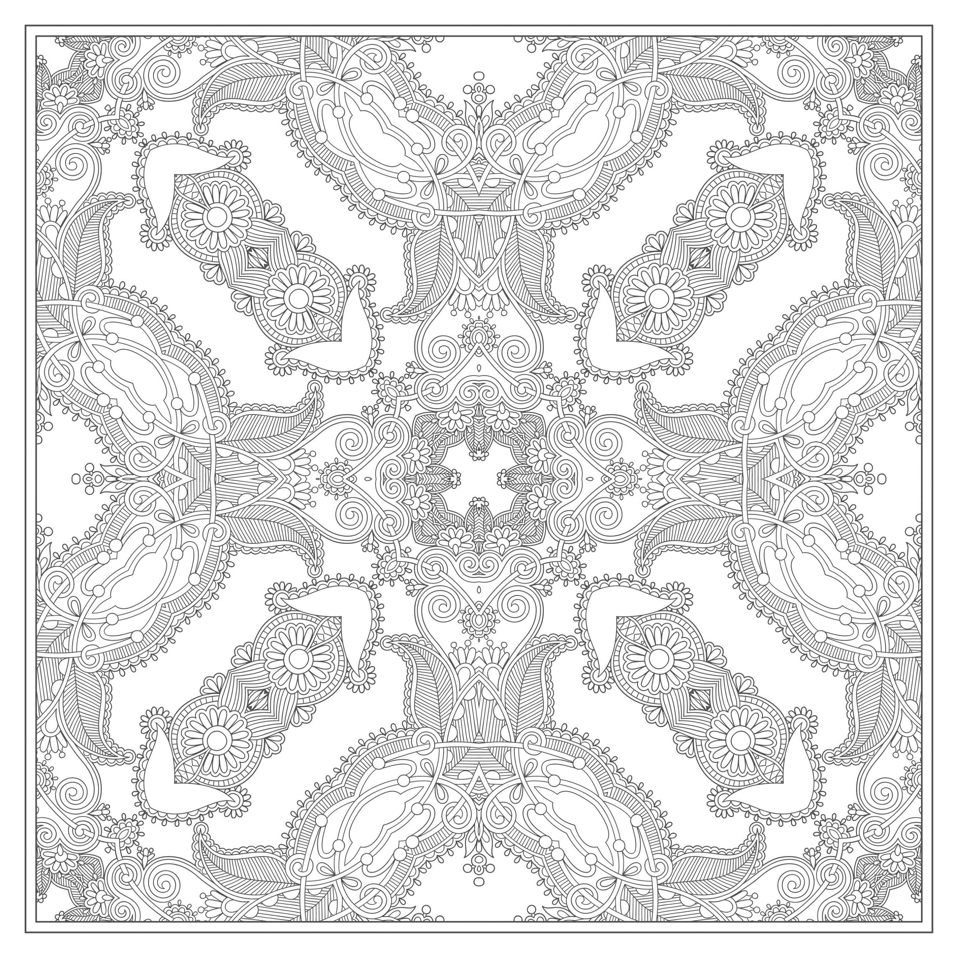 Square mandala M amp alas Adult Coloring
