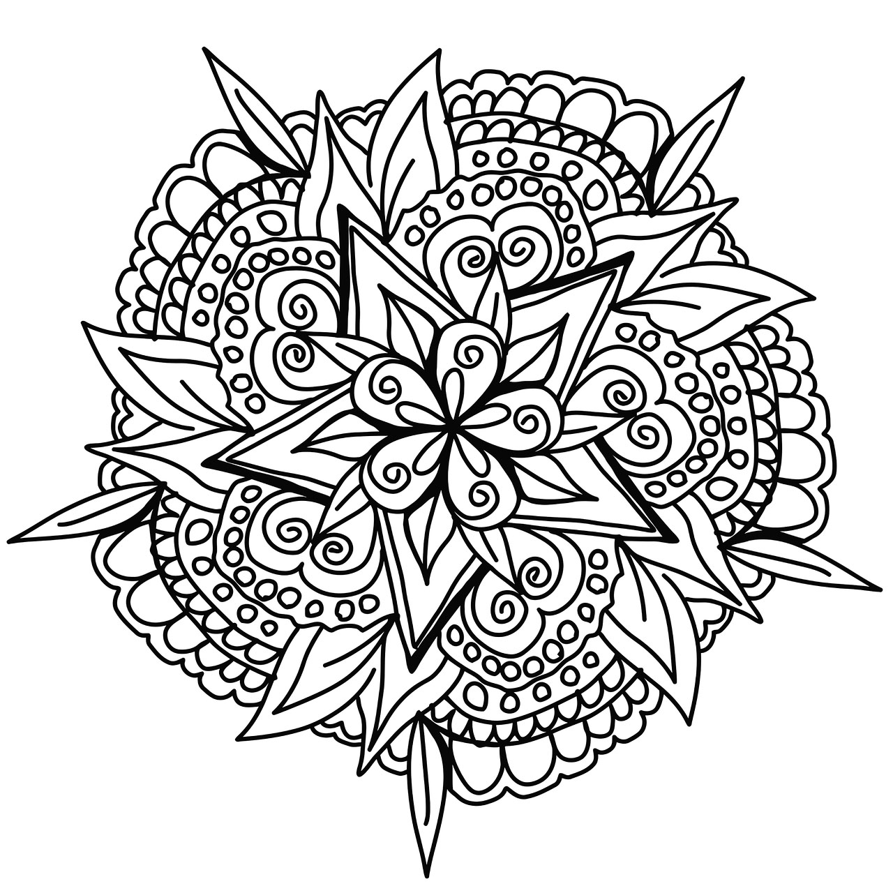 Awesome hand drawn Mandala - Mandalas Adult Coloring Pages