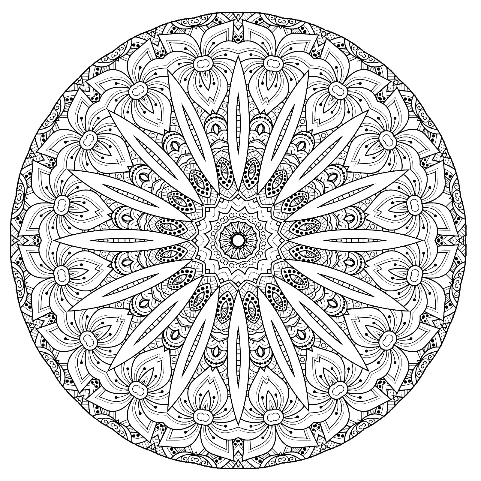 A Mandala quite difficult to color, perfect if you like to color small areas, and if you like various details, and for this one beautiful flowers.