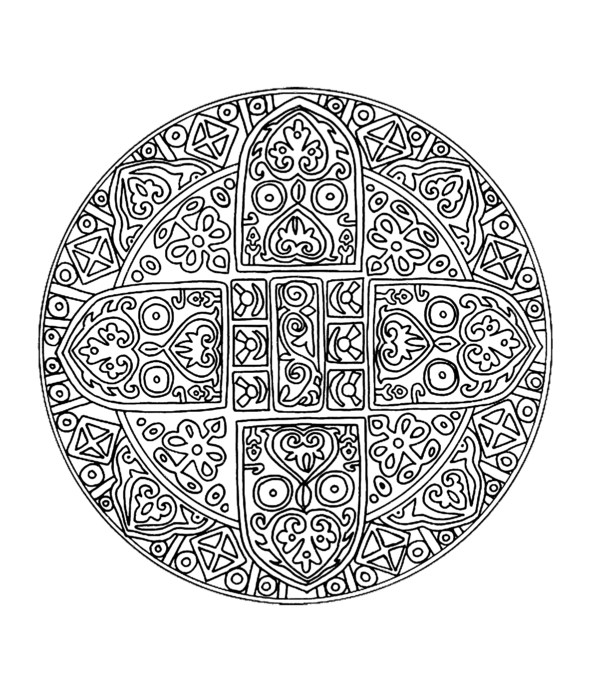 Free mandala for to print 1