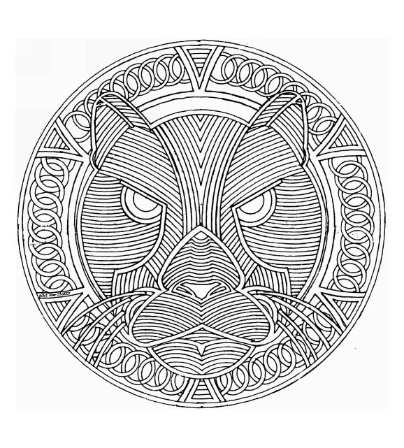 Mandala based on a panther tracking her prey