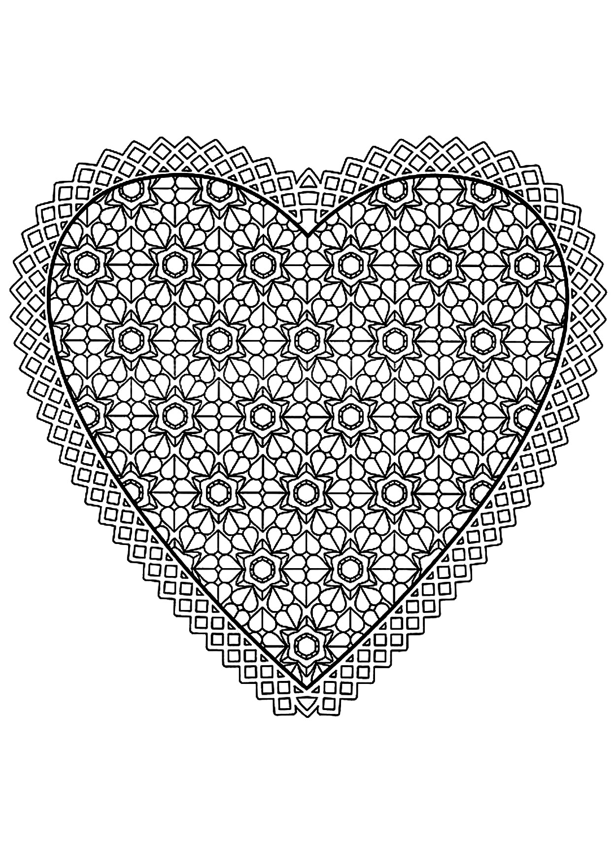 Mandala with the shape of an heart