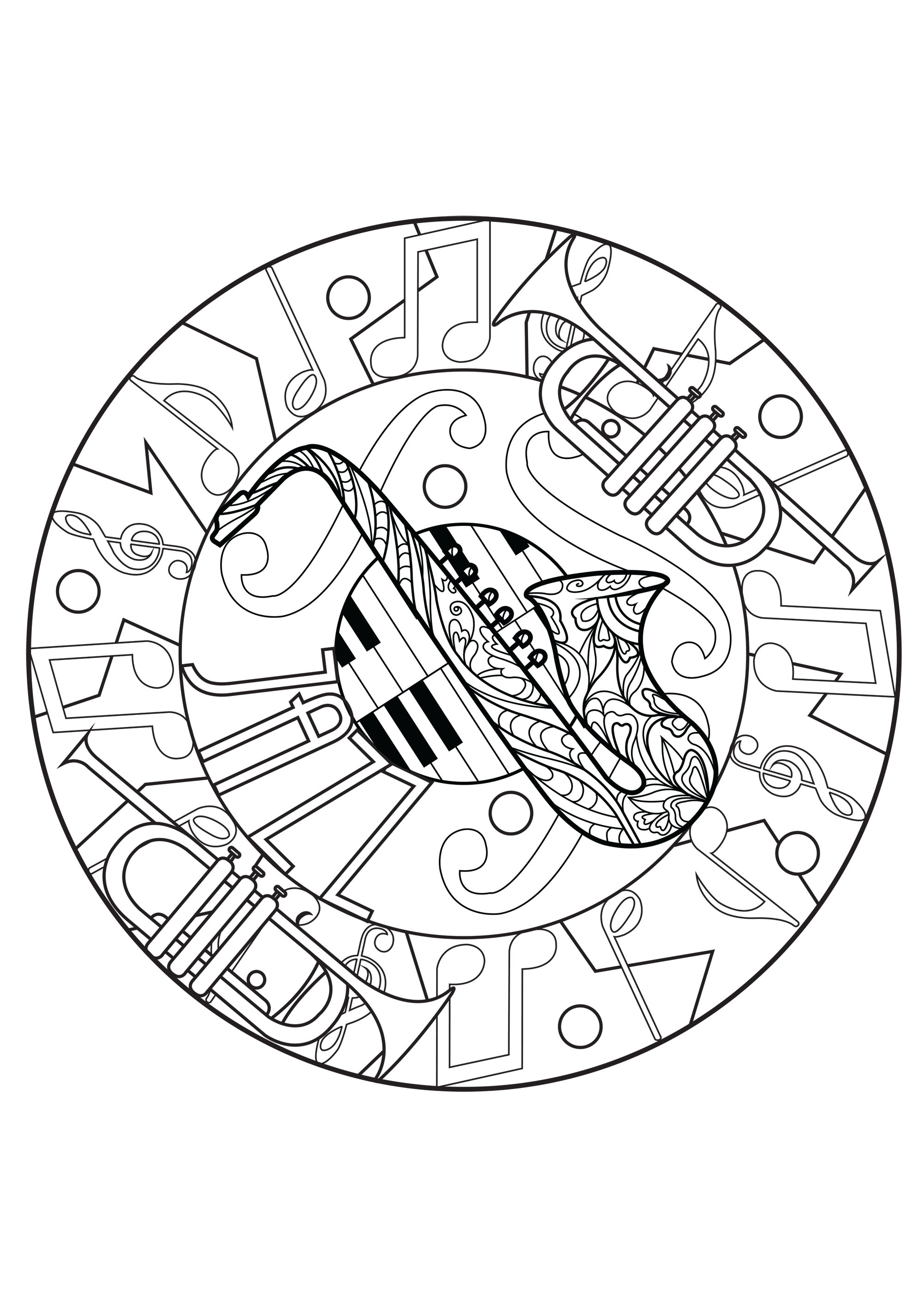 Melodious Mandala Composed Of A Saxophone Trumpets Piano And Music Notes Do You Like Jazz Coloring Page