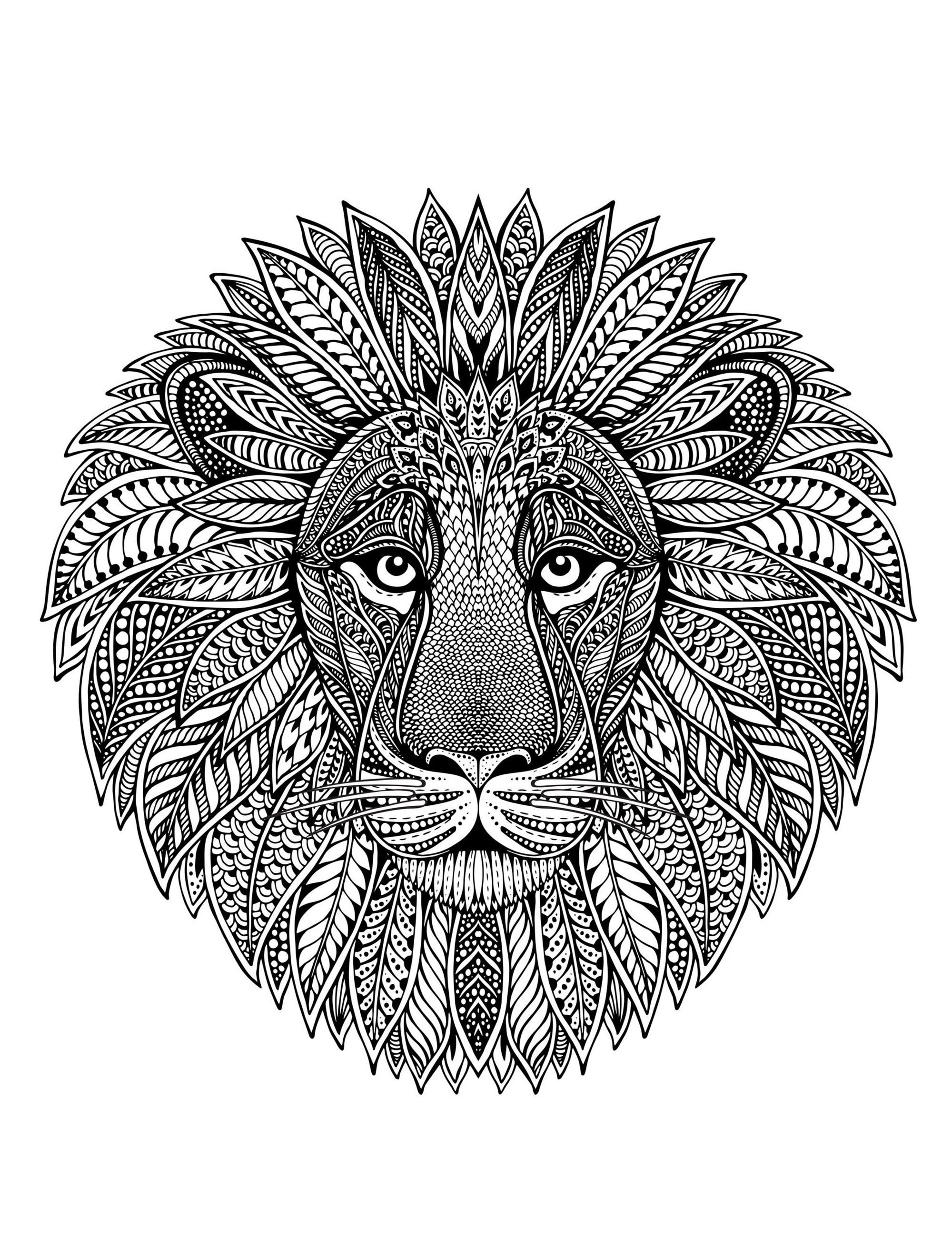 Lion head as mandala m alas adult coloring pages for Lion mandala coloring pages