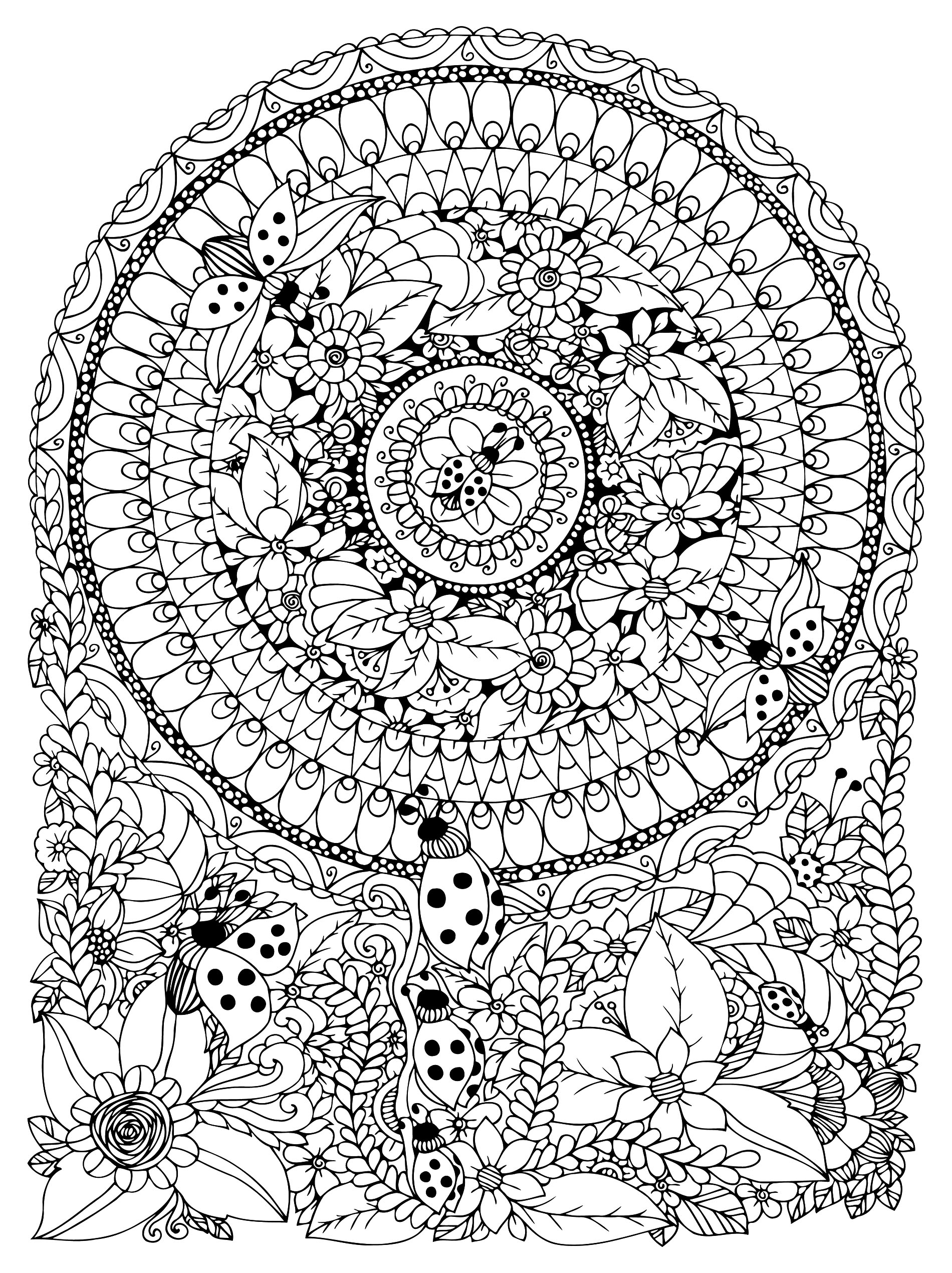 Vector illustration Zen Tangle ladybug in a flower. Manali, doodle, circle. Coloring book anti stress for adults. Black and white.,Vector illustration Zen Tangle ladybug in a flower. Manali, doodle, circle. Coloring book anti stress for adults. Black and white.