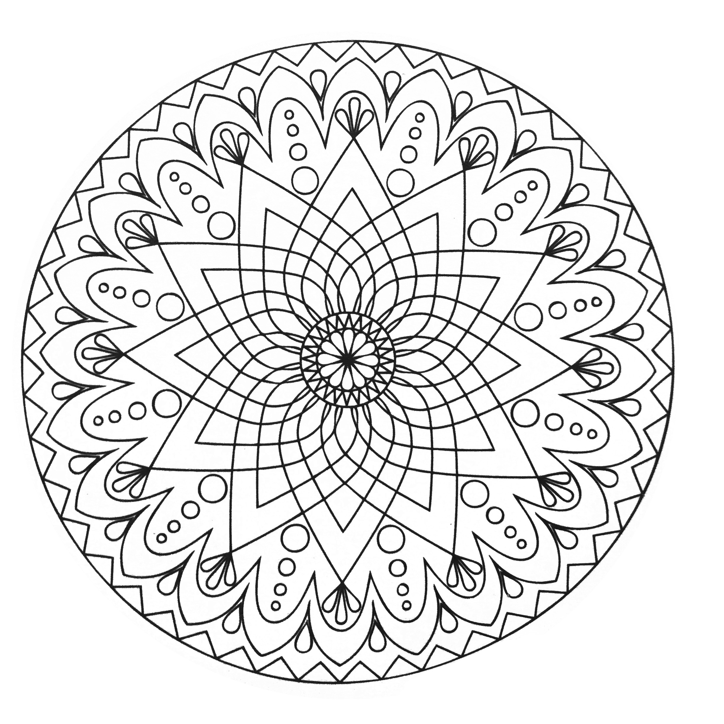 Mandala abstract simple - M&alas Adult Coloring Pages