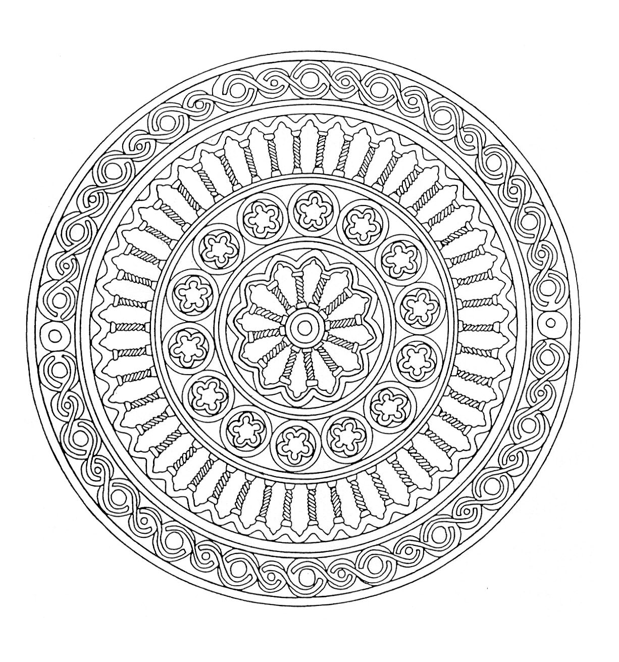 Is the Greece served as inspiration for this Mandala? In any case it seems there is columns of temples in this coloring page. See for yourself ... and color !