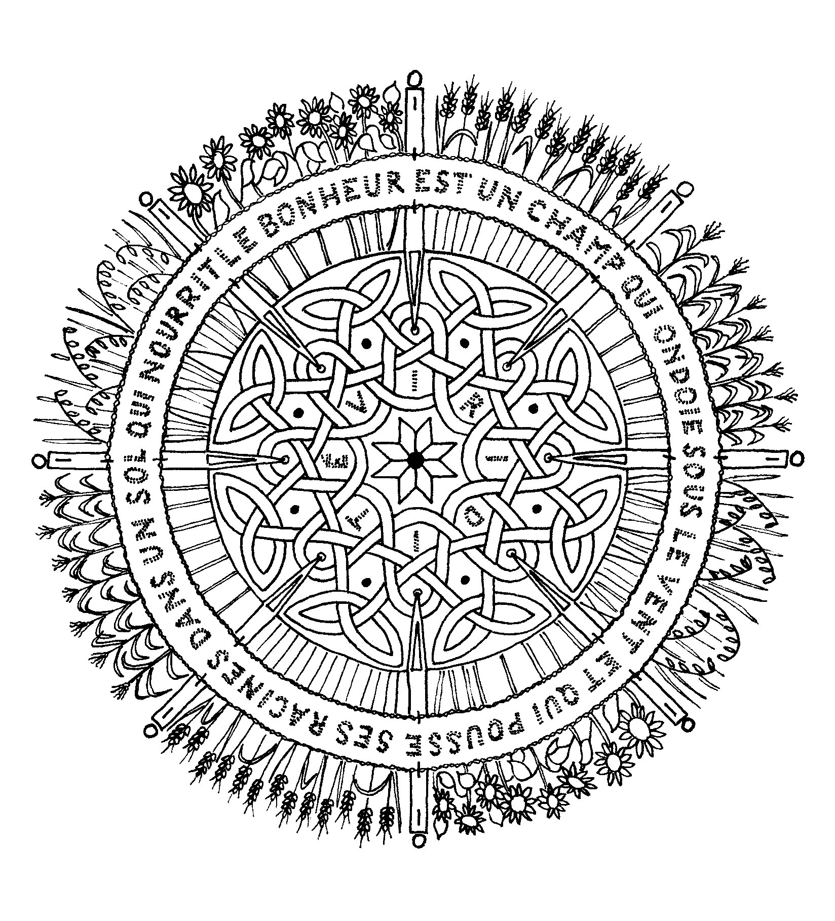 Mandala with pretty sentence on happiness, for a zen coloring!