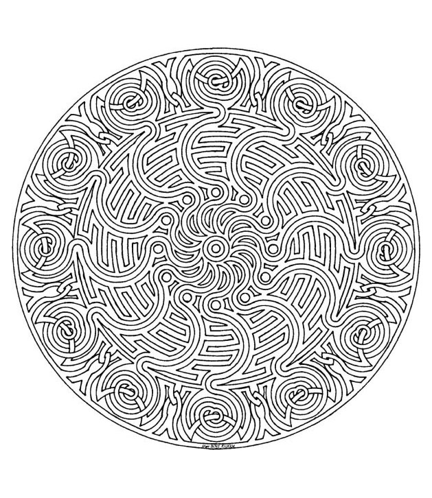 This Mandala is almost a maze! You have to find your way by coloring it