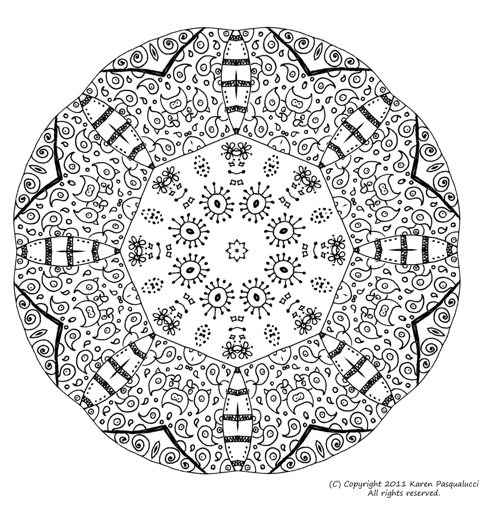 Mandala for adult fairly complex, with high level of detail
