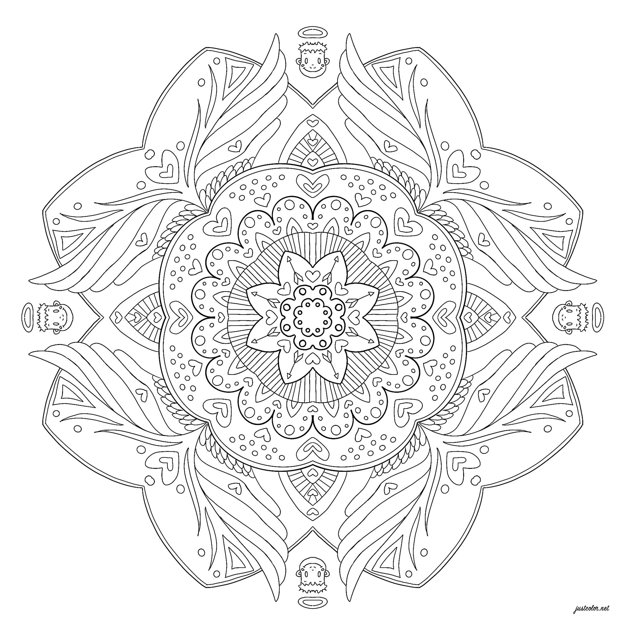 Mandala with four little angel heads