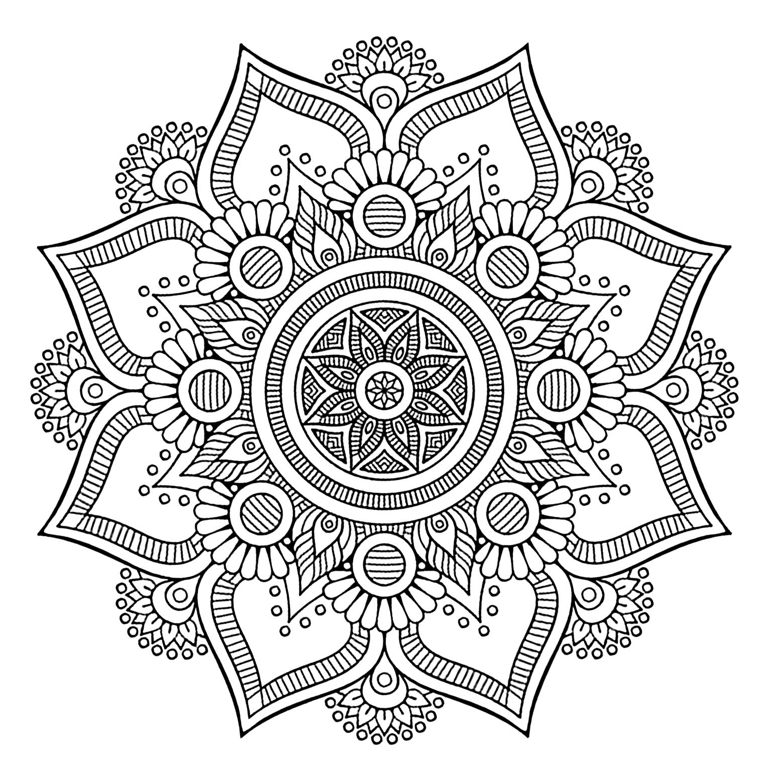 Cool Mandala with 8 big petals and vegetal patterns