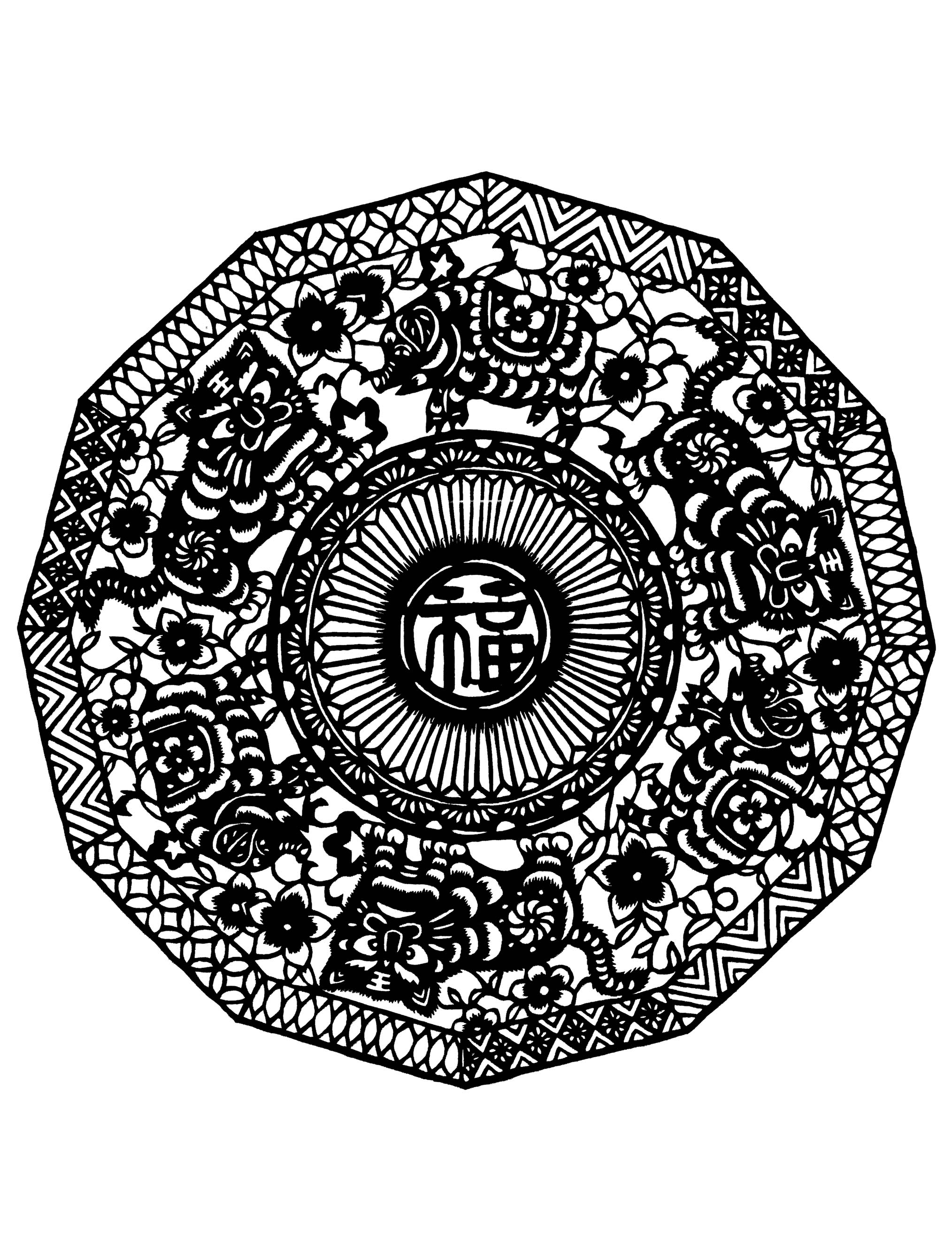 Mandala inspired by chinese patterns and drawings
