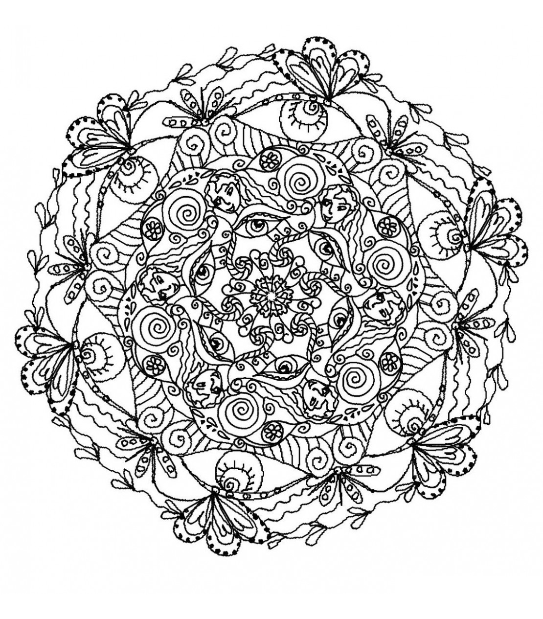 Plants and natural patterns for this refreshing Mandala for adult. Colors in green tones preferred, of course !