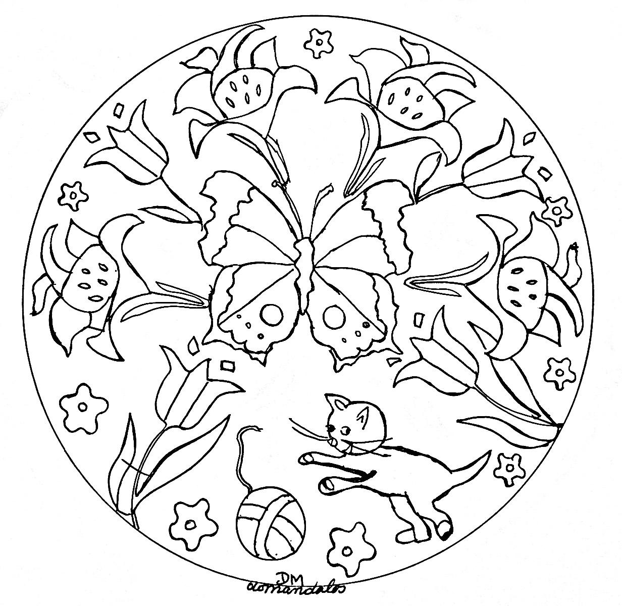 Mandala domandalas butterlies flowers and cat