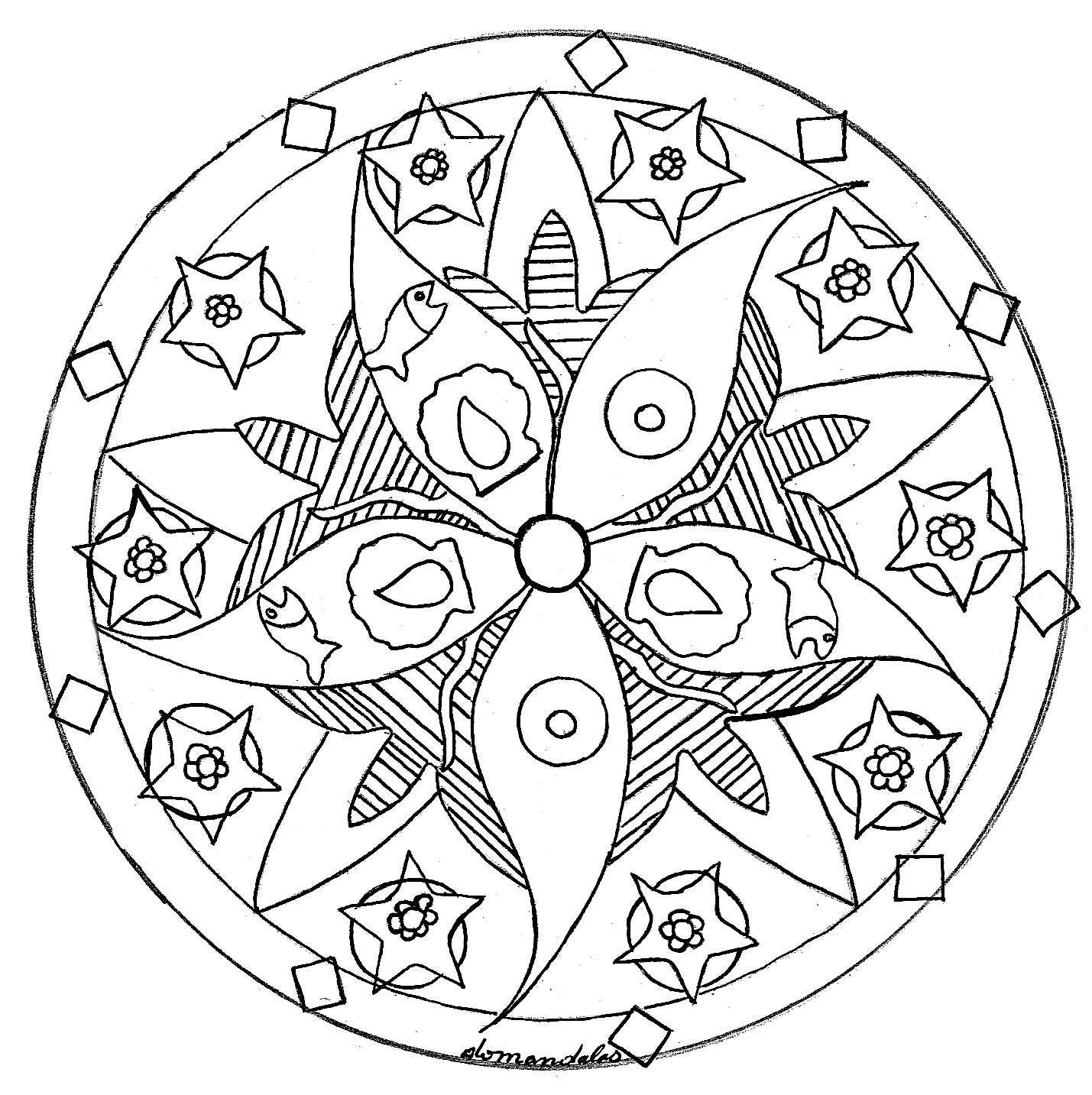 mandala domandalas fish sea star mandalas coloring pages for