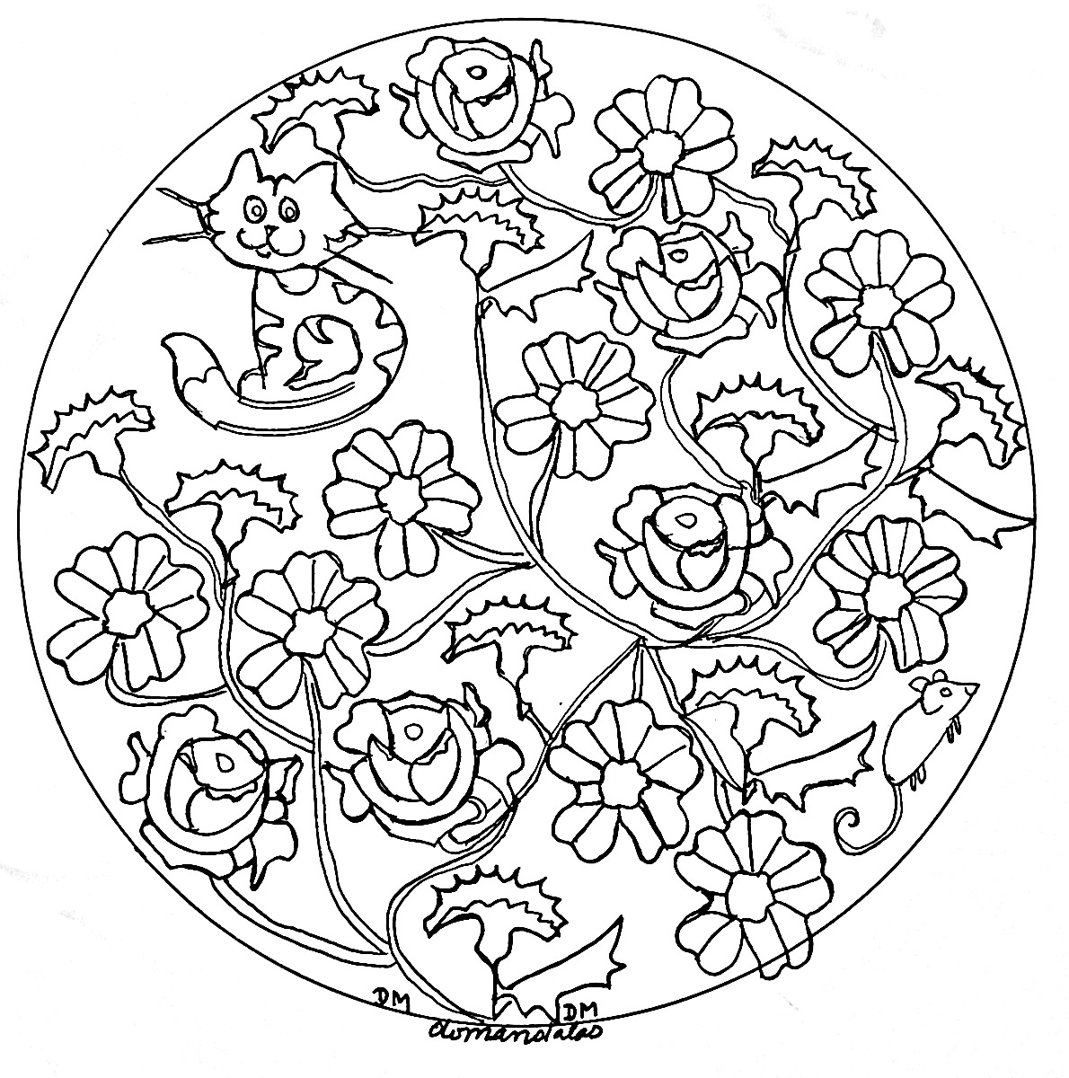 Mandala domandalas roses and cat - Image with : Rose