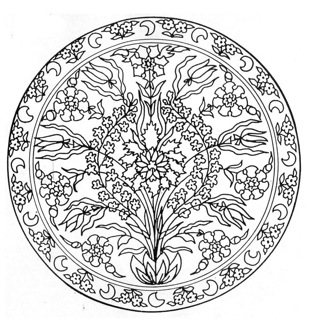 Mandala and Flowers - Mandalas Adult Coloring Pages