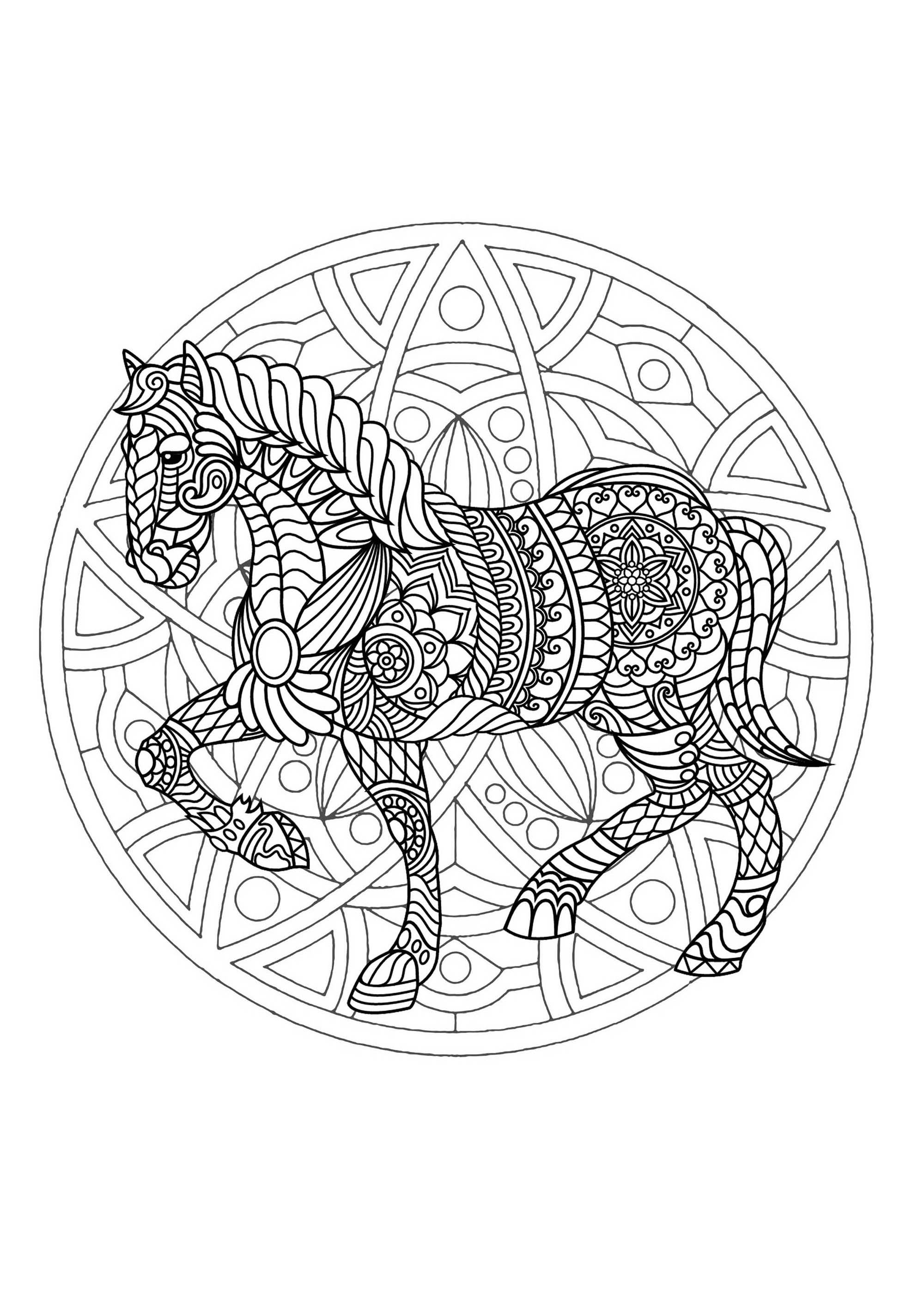 Mandala to color with magnificent Horse and simple geometric patterns in background